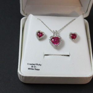 Created Ruby Heart Necklace & Earrings Set